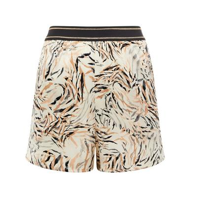 Beige Leaf Print Satin Pajama Shorts