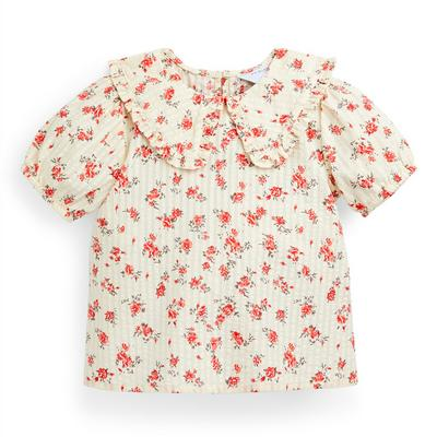 Younger Girl Ivory Floral Print Blouse