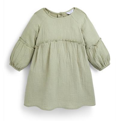 Groene jurk met smokwerk voor meisjes