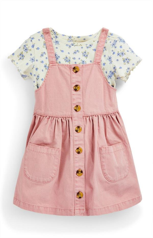 Younger Girl Pink Twill 2-In-1 Button Detail Dress
