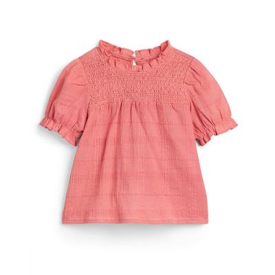 Younger Girl Pink Puff Sleeve Blouse