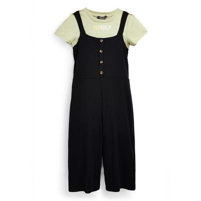 Zwarte 2-in-1 jumpsuit van ribstof voor meisjes