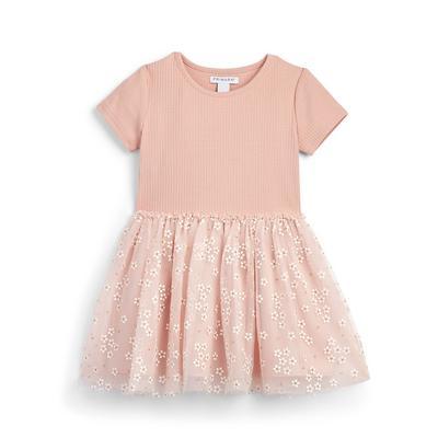 Younger Girl Pink Floral Tutu Dress