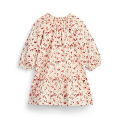 Roze gebloemd jurkje met smokwerk voor meisjes