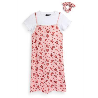 Conjunto 3 en 1 de color rosa de punto con flores para niña mayor