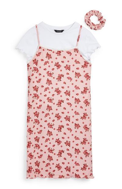 Tridelni komplet z obleko s tankimi naramnicami iz džersija za starejša dekleta