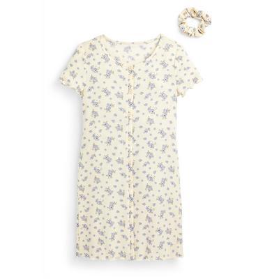 Older Girl Ivory Floral Print Jersey Button Through Dress Set 2 Piece