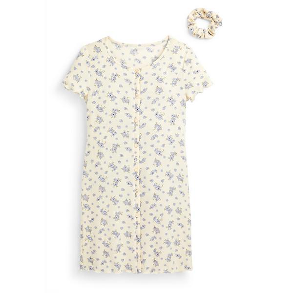 Abito avorio floreale in jersey con bottoni da ragazza 2 pezzi