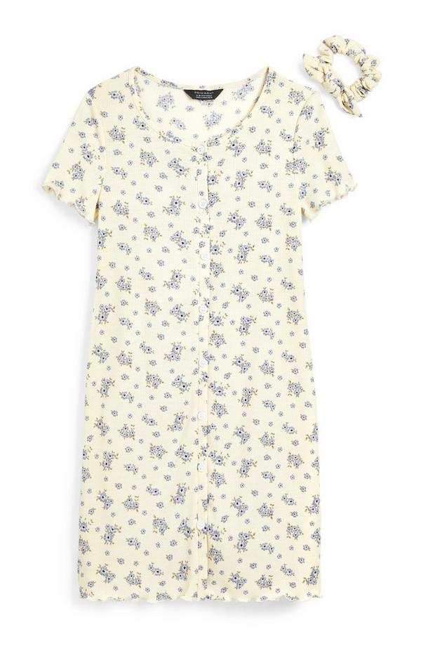 Older Girl White Floral Print Jersey Button Up Dress