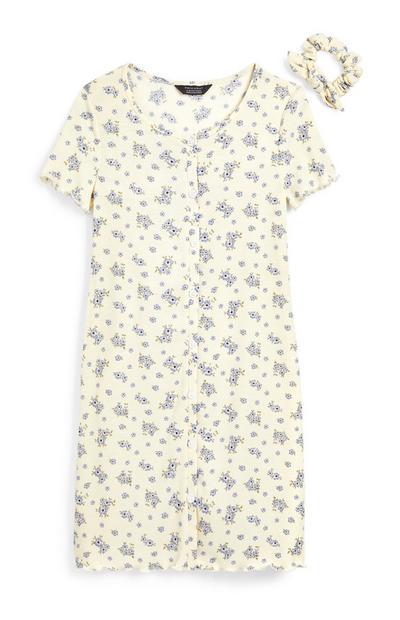Bela obleka iz džersija s cvetličnim potiskom in gumbi za starejša dekleta