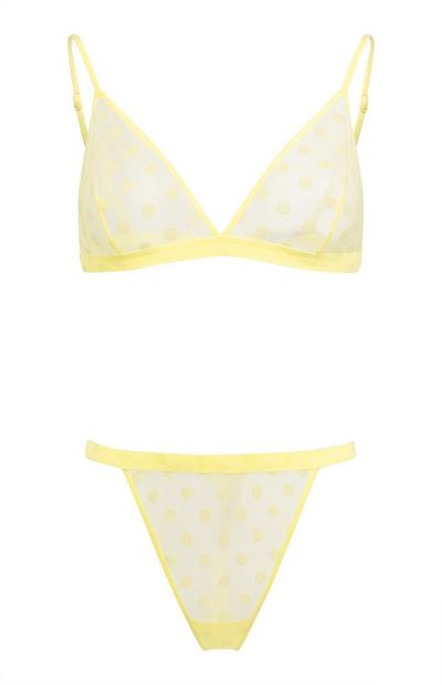 Yellow Flocked Spot Lingerie Set