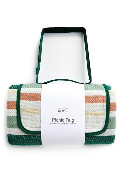 Green Striped Picnic Blanket Rug