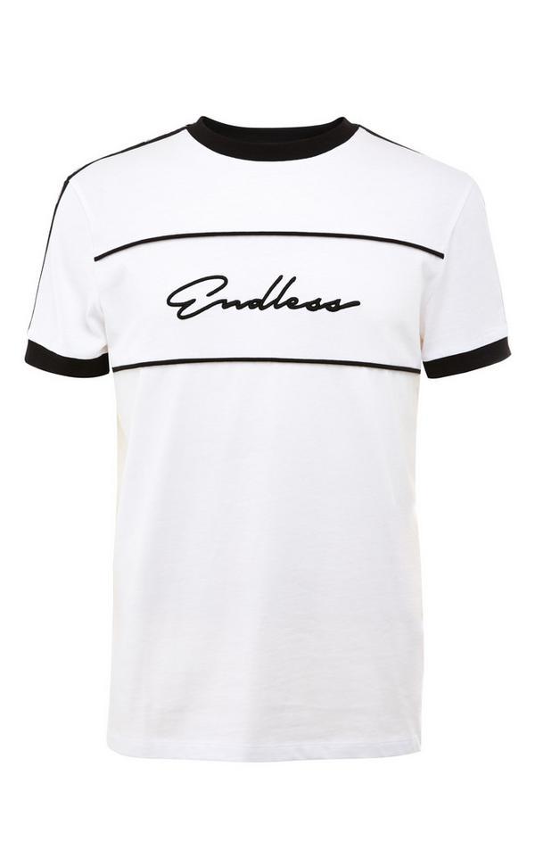 """Weißes """"Endless"""" T-Shirt mit schwarzen Streifen"""