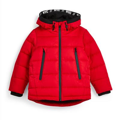 Younger Boy Red Puffer Jacket