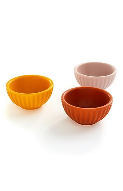 Kommetjes in warme kleuren, set van 3