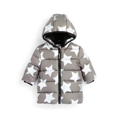 Baby Boy Grey Star Print Padded Hooded Jacket