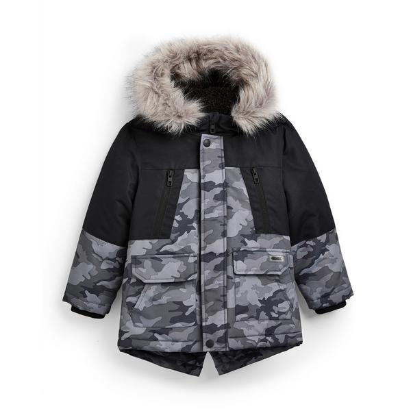 Younger Boy Charcoal Color Block Parka