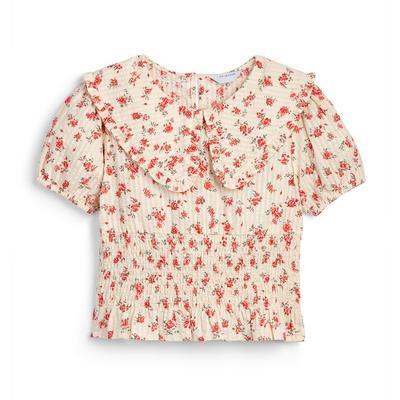 Roze gebloemde blouse met kraag voor meisjes