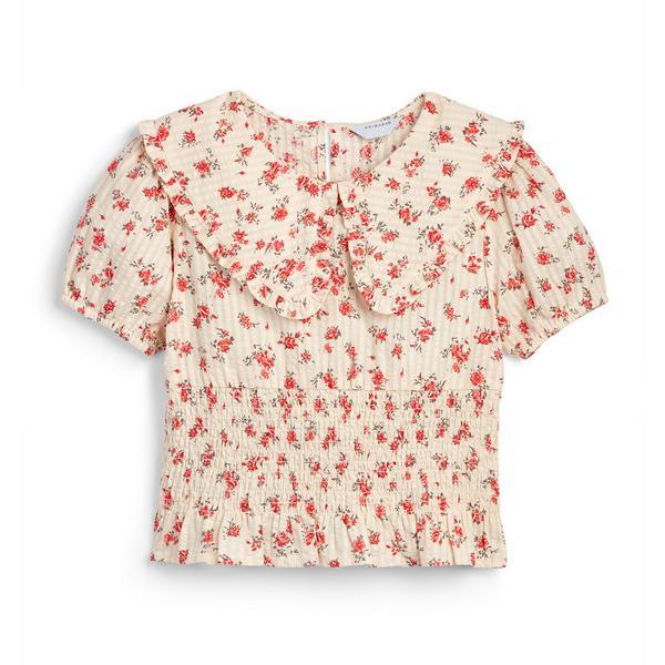 Blusa gola padrão floral rapariga cor-de-rosa