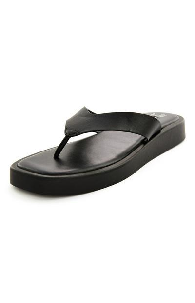 Black Chunky Sole Thong Flip Flop Sandals