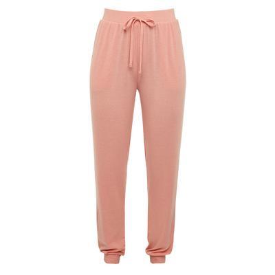 Pink Blush Ribbed Jersey Pyjama Leggings