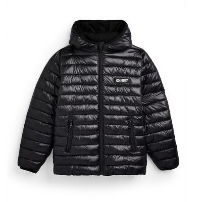 Older Boy Black High Shine Puffer Jacket