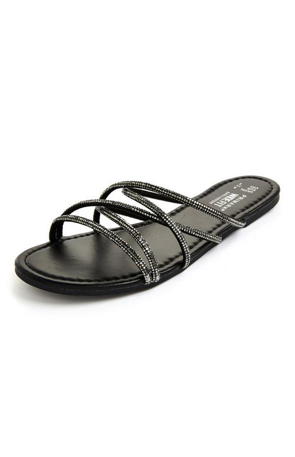 Sandali neri bassi con listini e strass