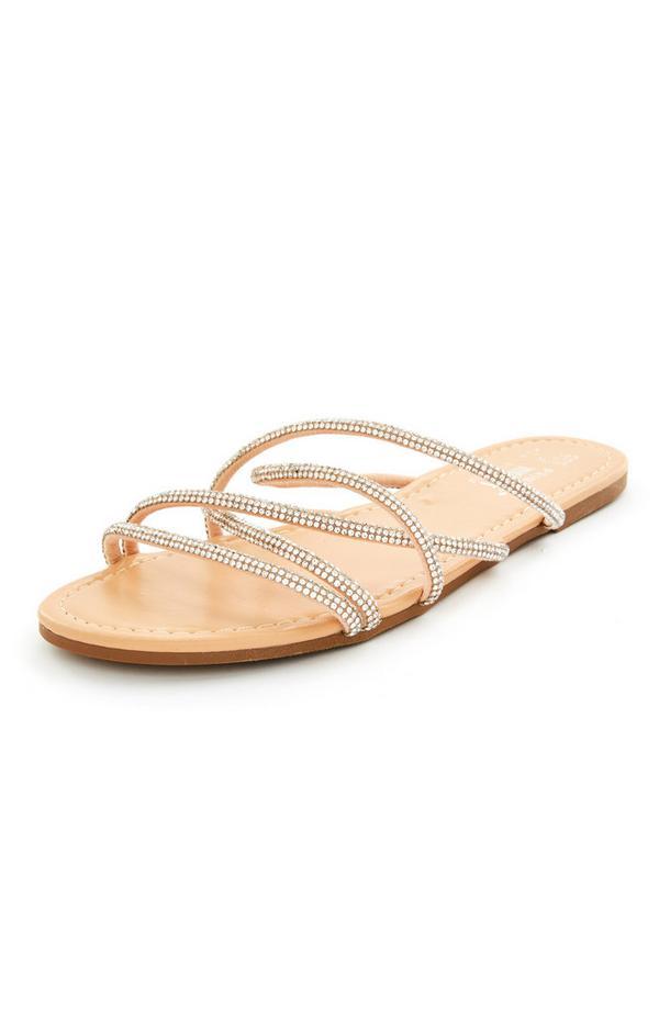 Beige sandalen met bandjes met stras