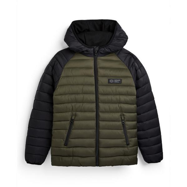 Older Boy Khaki Colour Block Puffer Jacket