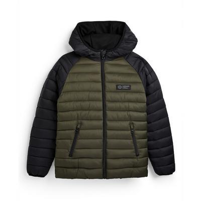 Older Boy Olive Color Block Puffer Jacket