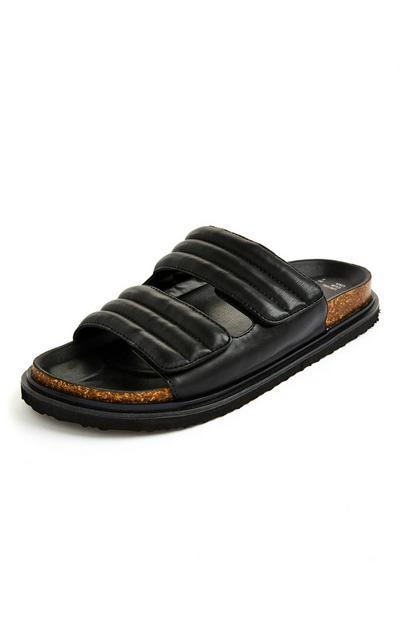 Schwarze, gepolsterte Sandalen mit Fußbett und Klettband