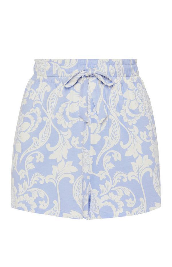 Blue Floral Print Shorts