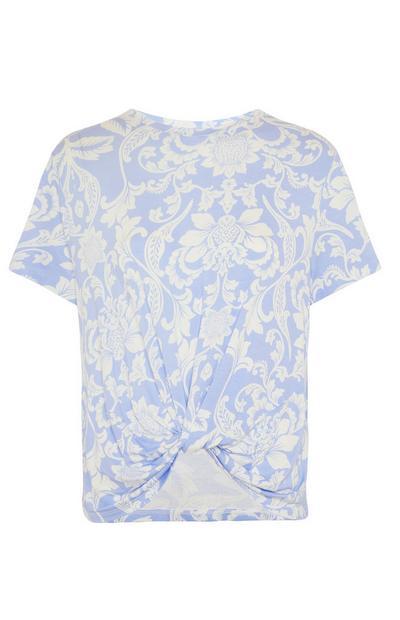 T-shirt blu da notte con stampa floreale