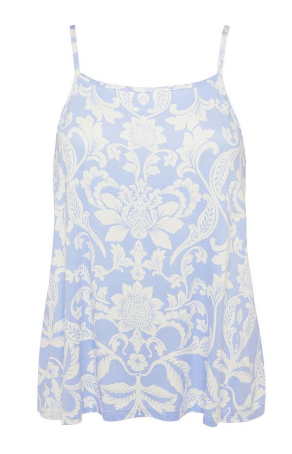 Camisón azul con estampado floral