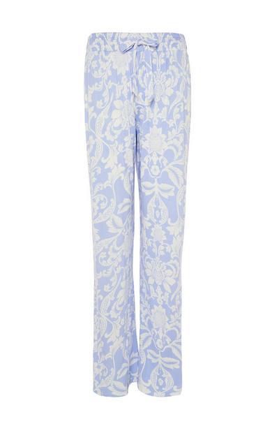 Leggings da notte blu con stampa floreale