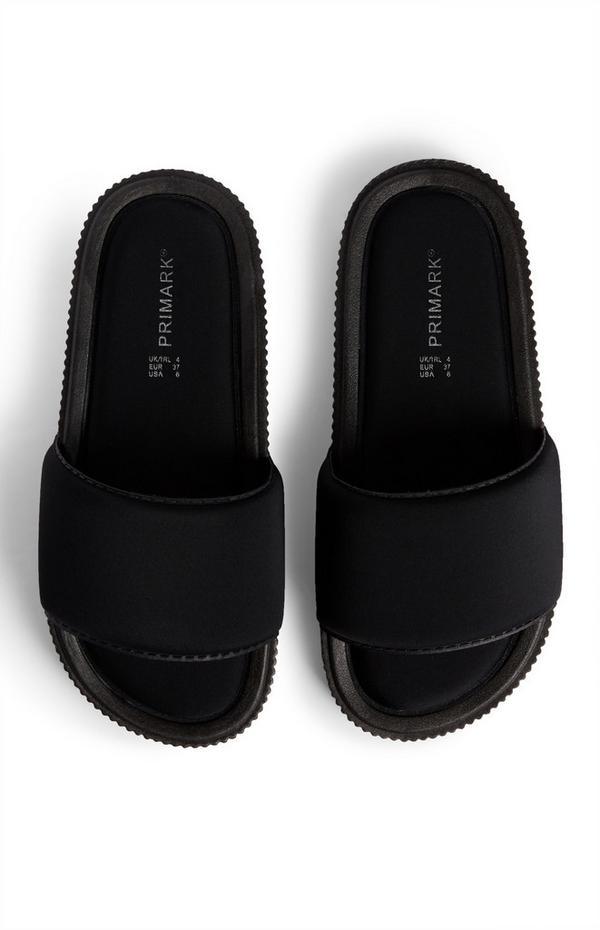 Chinelos abertos confortáveis preto