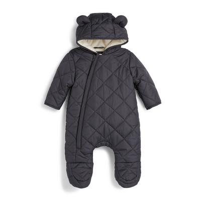 Newborn Boy Charcoal Quilted Snowsuit