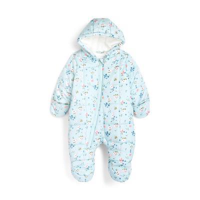 Newborn Baby Girl Floral Print Snowsuit