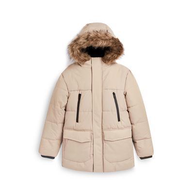 Older Boy Beige Longline Puffer Coat