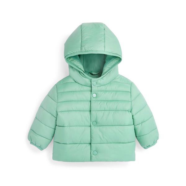 Baby Boy Mint Green Padded Popper Hooded Jacket