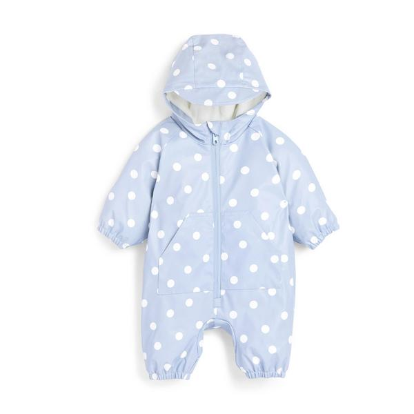 Baby Girl Blue Polka Dot Print All-In-1 Puddlesuit