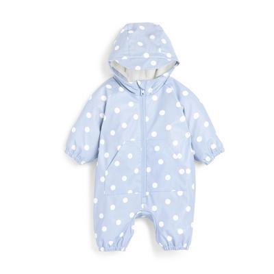 Combinaison bleue tout-en-un à pois bébé fille