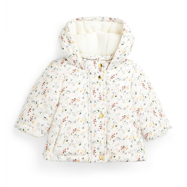 Baby Girl Ivory Floral Print Jacket