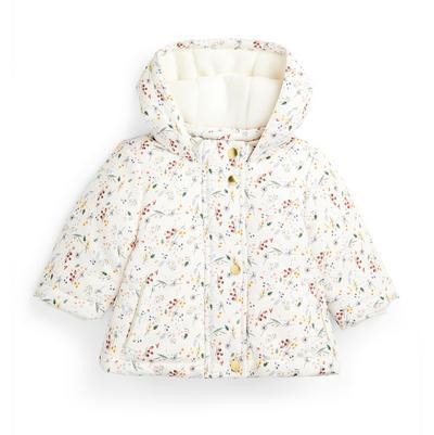 Casaco padrão floral menina bebé marfim