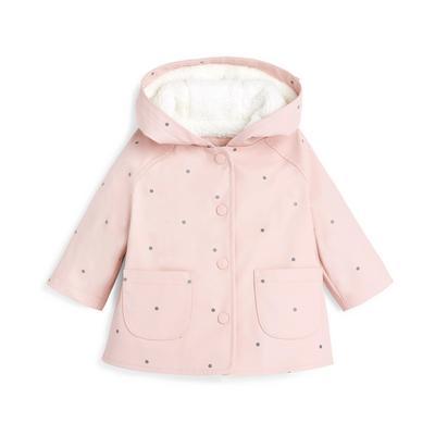 Rosafarbener Regenmantel mit Pünktchenmuster für Babys (M)