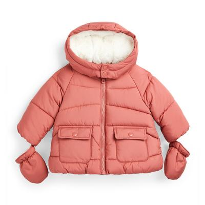 Baby Girl Coral Padded Jacket With Mittens