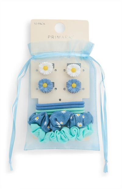 Juego de accesorios para el pelo azul en bolsa de organza
