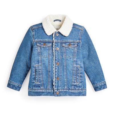 Veste bleue en jean avec col effet mouton retourné garçon