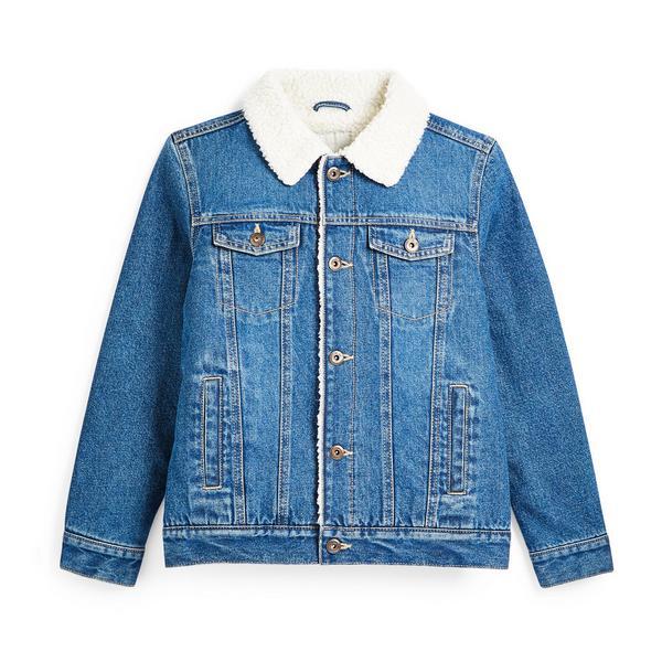 Older Boy Blue Denim Borg Collar Jacket