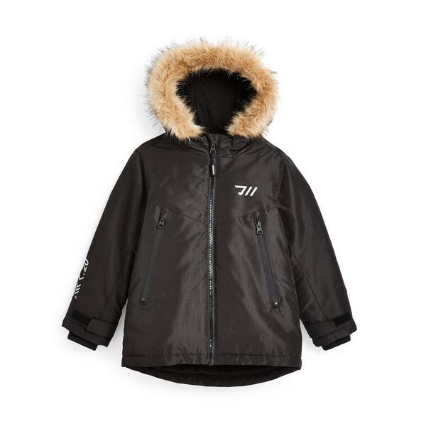 Younger Boy Black Faux Fur Hood Windbreaker Jacket